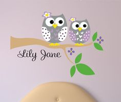 Childrens Decor Owl Wall decal with Name  Owl on by LucyLews, $44.00