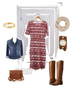 """""""LuLaRoe Julia dress ready for fall."""" by theblondediva on Polyvore featuring Paige Denim, Frye, maurices, The Cambridge Satchel Company, La Mer and Karen Kane"""