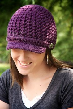 Women's Brimmed Beanie  Purple  Made to Order by OliJAccessories, $25.00