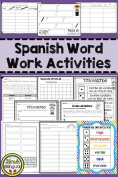 Spanish Word Work Activities