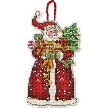 Santa Counted Cross Stitch Ornament
