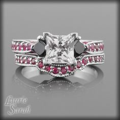 Princess Cut White Sapphire Engagement Ring With Black Diamonds and Pink Sapphires.    All my Fav colors!!!!