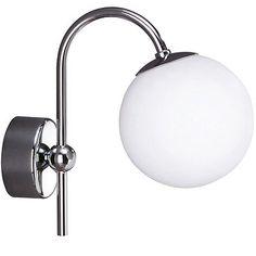 £21 Traditional Chrome Bathroom Wall Light With Opal Glass Shade 40W IP44 Philips