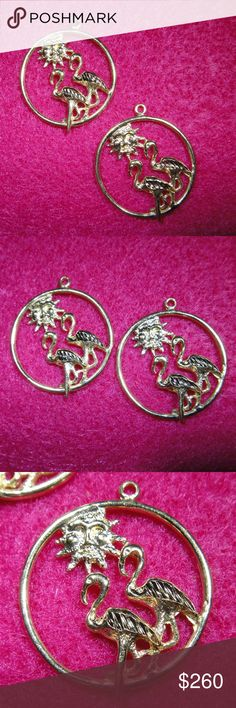 77b728375822 14K Yellow Gold Large Flamingo Earring Jackets These vintage 14K yellow  gold flamingo earring jackets are