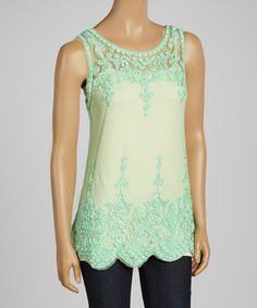 Mint Sheer Embroidered Wool-Blend Tank