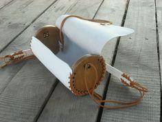 A mano in pelle moderno borsa a forma di cilindro di legno /