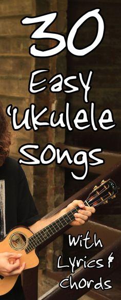 30 Easy Ukulele Songs For Beginners - 3 or 4 chord songs with lyrics.- 30 Easy Ukulele Songs For Beginners – 3 or 4 chord songs with lyrics. 30 Easy Ukulele Songs For Beginners – 3 or 4 chord songs… - Ukulele Songs Popular, Ukulele Songs Beginner, Ukulele Chords Songs, Cool Ukulele, Lyrics And Chords, Simple Ukulele Songs, Luna Ukulele, Guitar Songs, Pentatonix