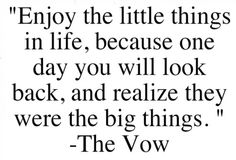 Enjoy the little things in life, because one day you will look back and realize they were the big things<3 The Vow.