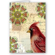 Image detail for -Collaged Old Letters and Postcards with Bird by angelandspot