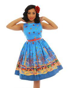 Audrey Blue Fairground Print Cotton Swing Dress - Dresses