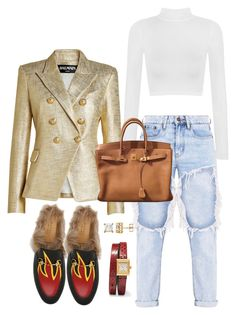 """Casual Chic!"" by milanbomb ❤ liked on Polyvore featuring Balmain, WearAll, Gucci and Hermès"