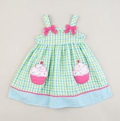 Youngland Spring Dresses  Toddler Cupcake Applique Plaid Dress Blue