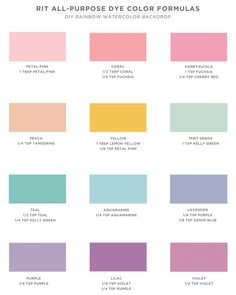 DIY Rainbow Watercolor Backdrop / Rit All-Purpose Dye Color Formulas Rit Dye Colors Chart, Color Mixing Chart, Tie Dye Colors, How To Tie Dye, How To Dye Fabric, Crepe Paper Backdrop, Tye Dye, Rit Tie Dye, Food Dye