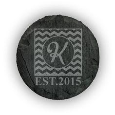Round Slate Coasters (set of 4)  - Chevron Monogram with Date