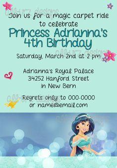 Jasmine Personalized Invitations 5x7 inches Printable
