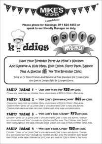 Mikes Kitchen Lambton - Kiddies Party Menu Menu, Drinks, Words, Party, Kitchen, Menu Board Design, Cucina, Beverages, Fiesta Party