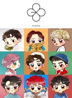 EXO Fan Arts - lucky one cute Kpop Exo chibi fanart Chen Suho Lay Xiumin Sehun D.O. Baekhyun Chanyeol Kai