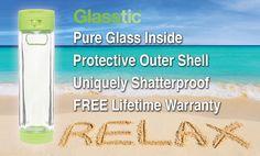 Glasstic Water Bottle - Shatterproof Glass Water Bottle