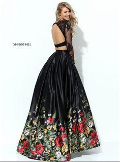 Роскошный образ на выпускной 2017: топ и юбка с цветочным принтом Black prom dress - top and long skirt. Best prom dress for teens