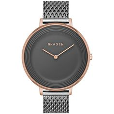 Skagen 'Ditte' Round Textured Dial Watch, 37mm ($117) ❤ liked on Polyvore