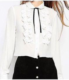 XS-XXL White Polyester Womens Lady Clothing Fashion Apparel Tops Ruffled Shirt | eBay