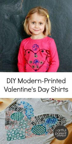 DIY Valentines Day Shirts for Kids with a Modern Twist - This is such a fun printmaking project for kids and results in wearable art! Valentine Crafts For Kids, Art Activities For Kids, Valentines Day Activities, Valentines Day Shirts, Crafts For Kids To Make, Creative Activities, Valentine Day Crafts, Creative Kids, Art For Kids