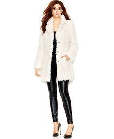 GUESS Notched-Lapel Faux-Fur Coat