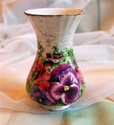 Ornaments Decoupage - Glass vase with pansies decor.