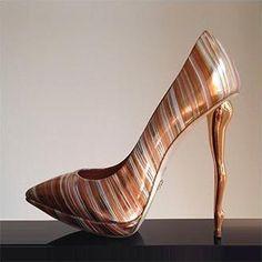 Dukas Sculpted Heels Ballet Striped Metal Legs Spring 2014 #Shoes #Heels