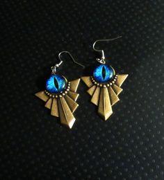 Art Deco Style Dragon Eye Earrings by AngelPetals on Etsy