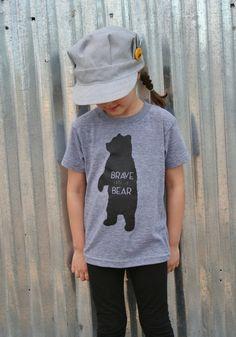 Brave as a Bear Screenprint T Shirt  Kids Tee Shirt by SavageSeeds, $20.00