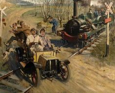 Cuneo, Terence Tenison Veteran Crossing French Railway Line Thomas Couture, Catholic Religion, Train Art, Art Uk, Steam Engine, Steam Locomotive, Train Tracks, Oil On Canvas, History