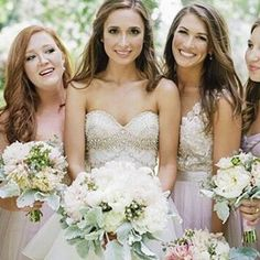 Gorgeous bride in @watterswtoo Kian and Priya bridal separates and her mix and match maids.