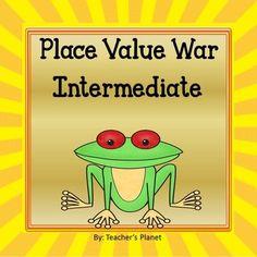 Place Value War Games - Intermediate Math 5, 5th Grade Math, Fun Math, Math Games, Fourth Grade, Second Grade, Place Value Cards, Fun Card Games, Student Drawing