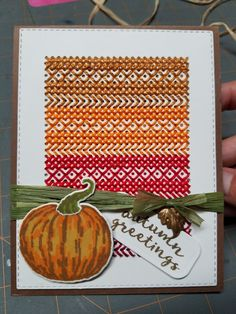 This card was created using the Paper Smooches cross stitch die and the new My Monthly Hero card kit.  I love the fall colors!