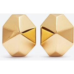 Signature Saint Laurent Geometric Earrings In Gold-Toned Brass ($790) ❤ liked on Polyvore featuring jewelry, earrings, gold, gold tone earrings, gold colored jewelry, brass earrings, engraved jewelry and goldtone jewelry