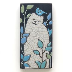 Cat, Kitty  , blue bird,3x6 raku fired art tile,handmade ceramic tile, home decor