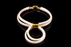 Statement  Necklace  White Rubber Bib Jewelry by EleannaKatsira, €39.00
