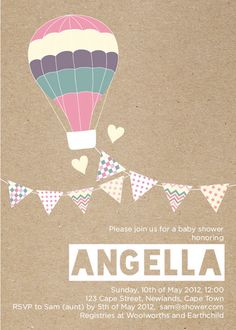 Sweet and simple.  Girl Hot Air Balloon, Pastels and Bunting Baby Shower Invitation - Printable Designs. $15.00, via Etsy.