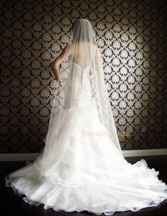 Couture Sheerest Silk Tulle Cut Edge Bridal Veil by IheartBride, $139.00