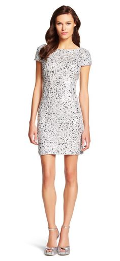 Short Sleeve Sequin Cocktail Dress - 30 Most Classy Silver Bridesmaid Dresses - EverAfterGuide