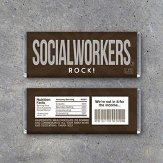 Social Workers Rock! Candy Bar Wrappers! Printable Hershey bar wrappers great for employee appreciation or just to say thanks to your favorite Social Worker. Instant download by Studio 120 Underground, $5.