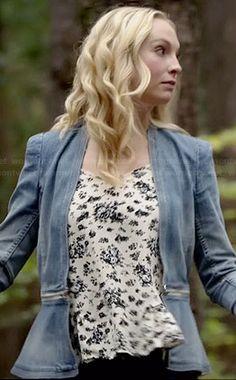 Caroline's denim peplum jacket and floral cami on The Vampire Diaries.  Outfit Details: http://wornontv.net/39872/ #TheVampireDiaries