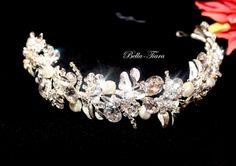Laura - Royal Collection - Stunning Swarovski crystal pearl wedding headpiece