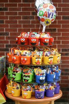 Sesame Street Candy Buckets For My Sons 1st Birthday Party Ideas Elmo