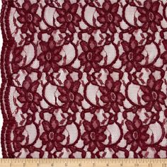 Telio Xanna Floral Lace Wine from @fabricdotcom  Delicate and classic, this lace fabric has finished scalloped edges on each side. It is sheer, lightweight and has a  20% mechanical stretch across the grain for comfort and ease. This lace fabric is appropriate for lingerie, overlays on skirts or dresses, feminine apparel accents, and wraps or shrugs.