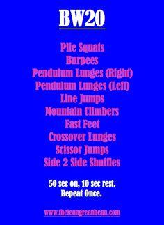 20 minute Body Weight Workout-Lean Green Bean