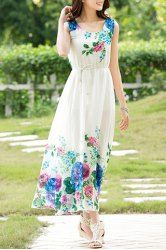 SHARE & Get it FREE | Stylish Scoop Neck Floral Print Sleeveless Chiffon…