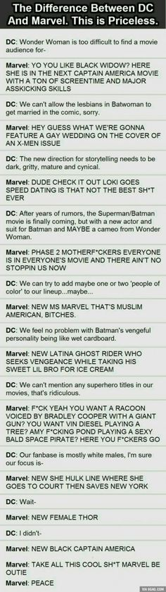 The major difference between Marvel and DC