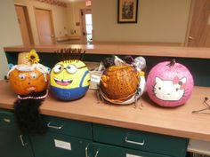 Awesome pumpkins from Twelve Oaks, a DePaul Senior Living Community in Mt. Airy, NC! #DespicableMe #Minion #HelloKitty